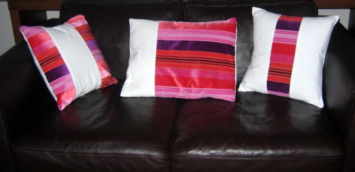 coussin, trio, couture, velours